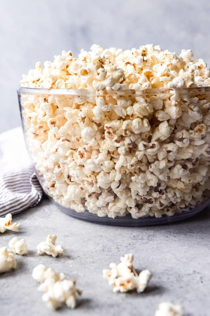 An image of a big bowl of stovetop popcorn.