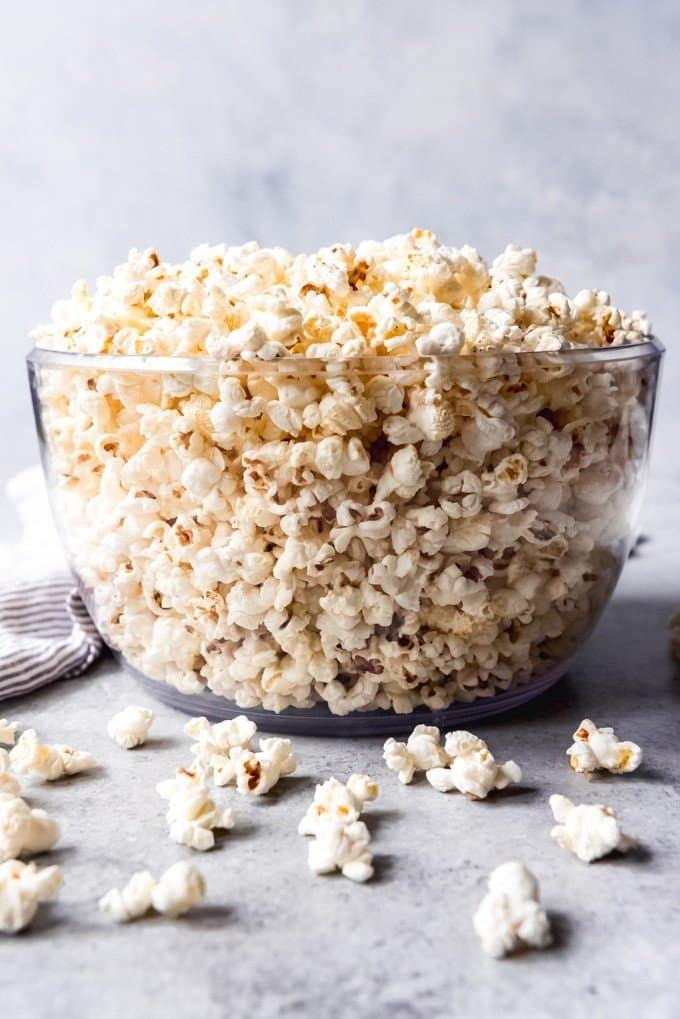 An image of a big bowl of popcorn made on the stovetop with just butter and salt for popcorn seasonings.