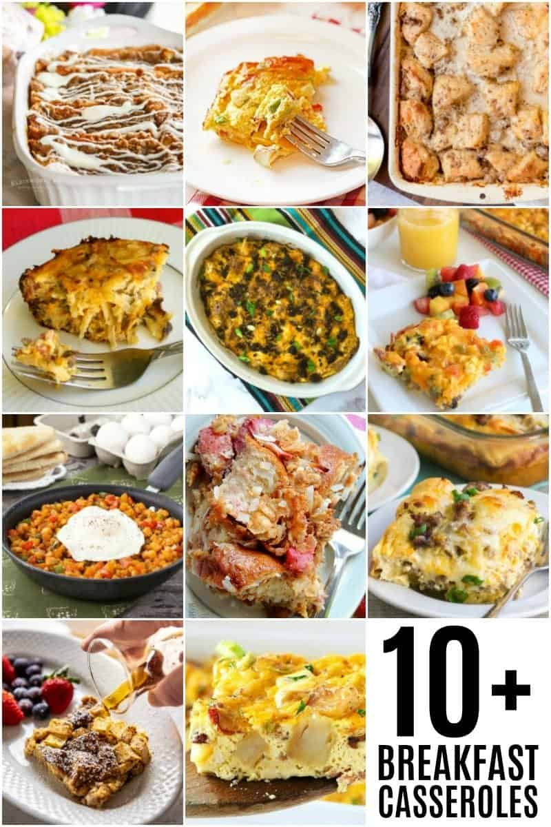A collage of 10 breakfast casserole ideas.