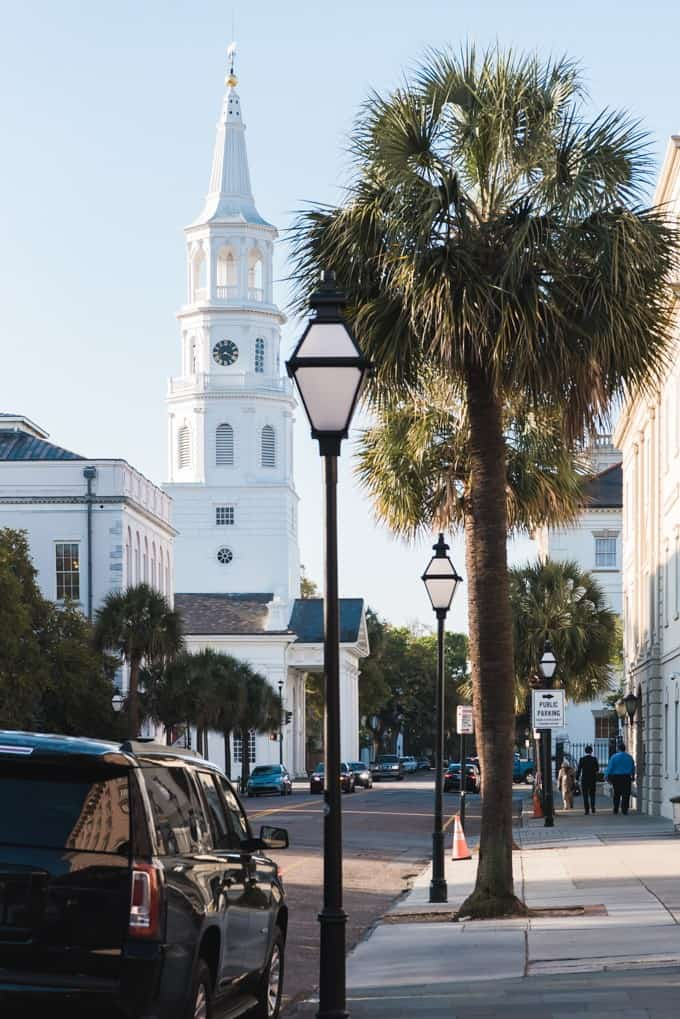 An image of a historic church steeple in Charleston, South Carolina.