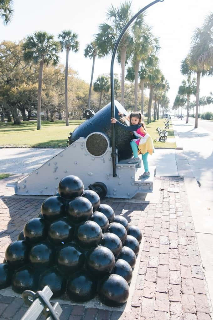 An image of cannonballs stacked into a pyramid in Charleston, South Carolina.