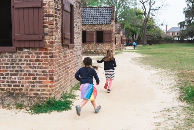 An image of girls playing at Boone Hall Plantation.