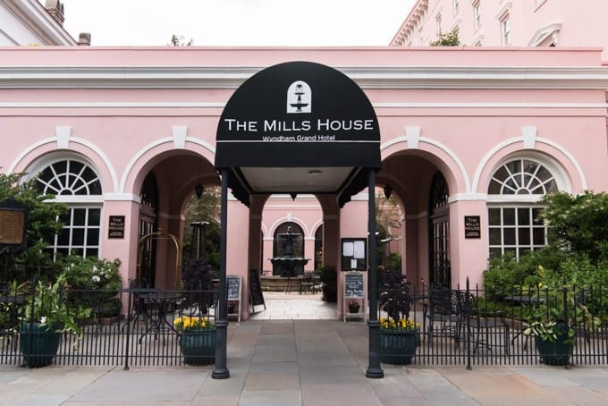 An image of The Mills House entrance in Charleston, South Carolina.