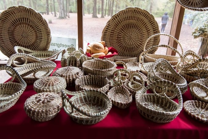 An image of woven sweetgrass Gullah baskets.