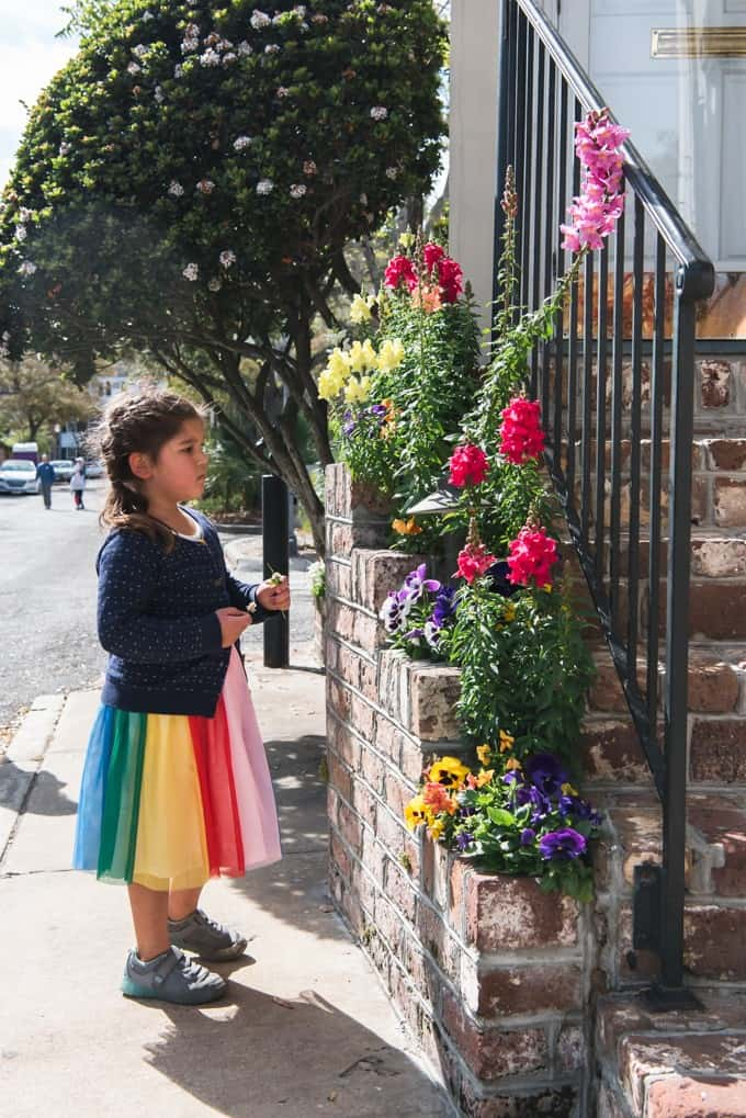 An image of a girl looking at flowers in Charleston, South Carolina.