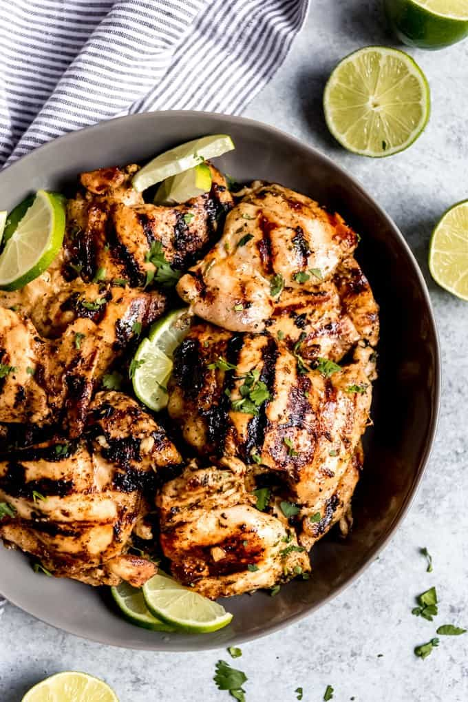These Grilled Cilantro Lime Chicken Thighs are incredibly juicy and flavorful.  The easy chicken marinade is quick to throw together and the tender chicken is so zesty and fresh that you will want to make this all year long!