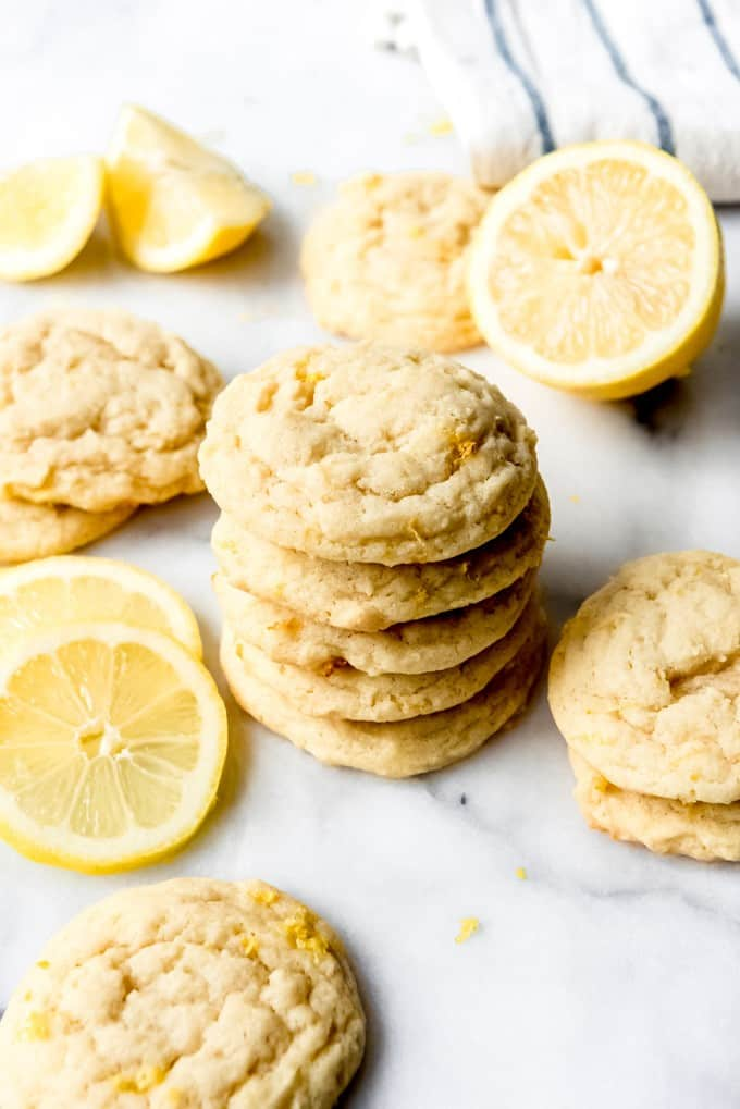An image of a stack of soft lemon sugar cookies.