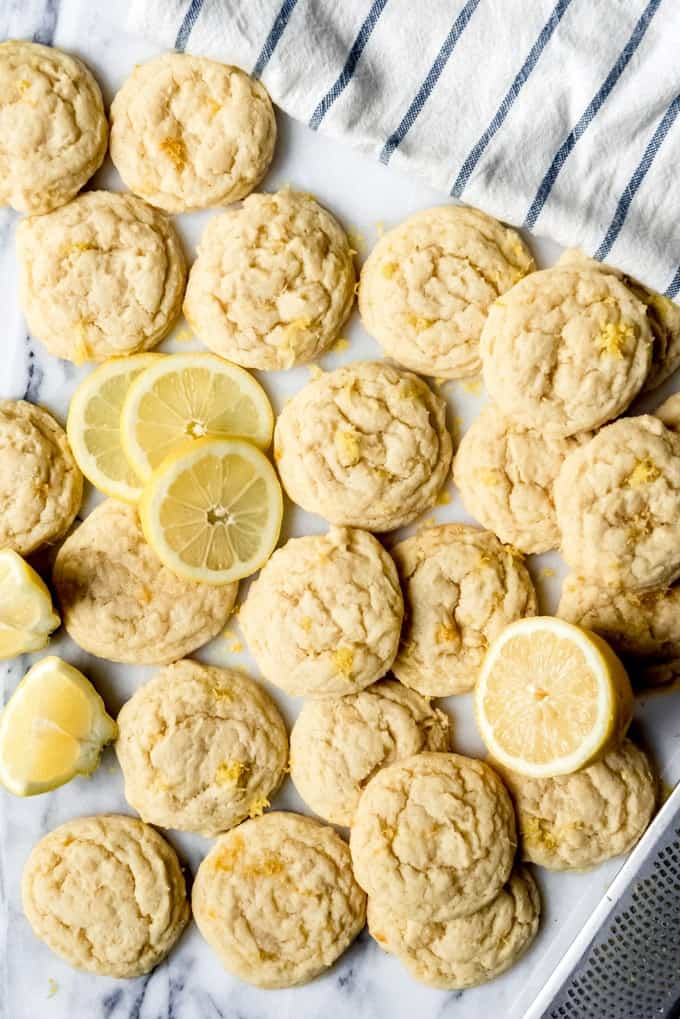 An image of lemon sugar cookies with thinly sliced circles of lemon.