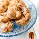 There is nothing like old-fashioned Southern Pecan Pralines!  This melt-in-your-mouth treat is a cross between a cookie and a candy and it's loaded with crunchy pecans, butter, and fabulous brown sugar flavor.