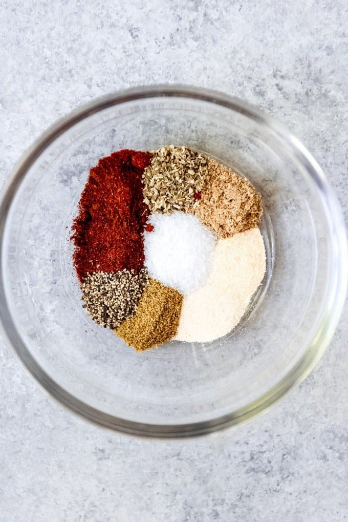 An image of spices in a bowl to make a fish taco spice rub.