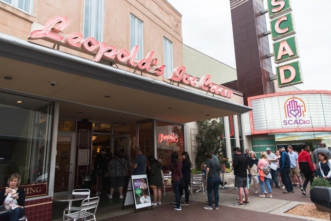 An image of the line for Leopold's Ice Cream in front of the SCAD marquee in Savannah, Georgia.