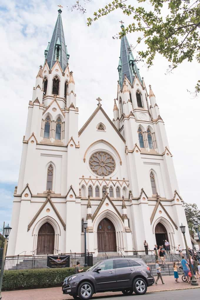 An image of the Cathedral of St. John the Baptist in Savannah, Georgia.