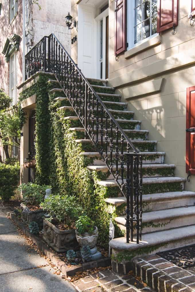 An image of an exterior staircase to a home in historic Savannah, Georgia.