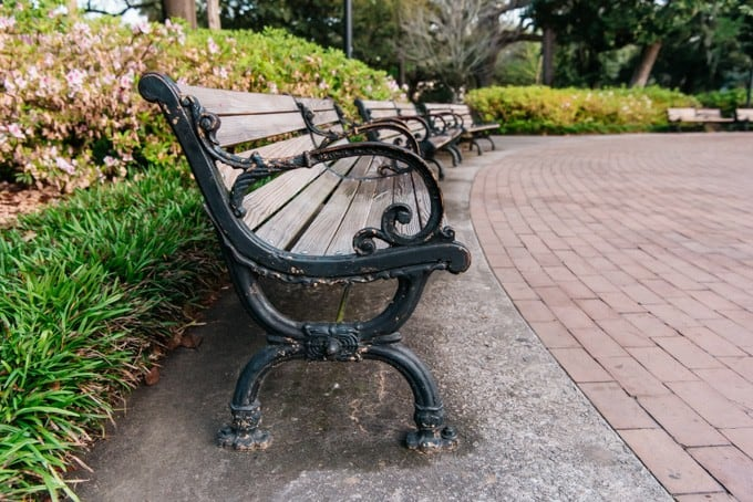 An image of park benches in Savannah, Georgia.