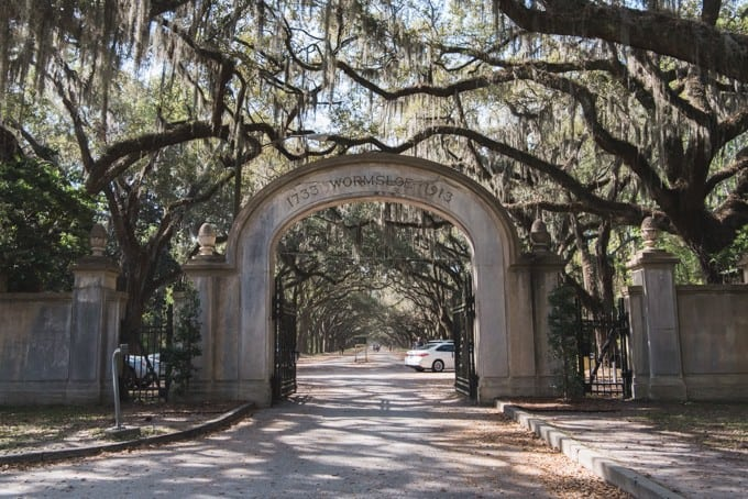 An image of the entrance to Wormsloe Historic Site.