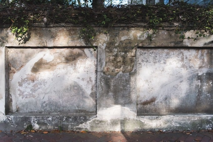 An image of a repaired plaster wall in Savannah, Georgia.