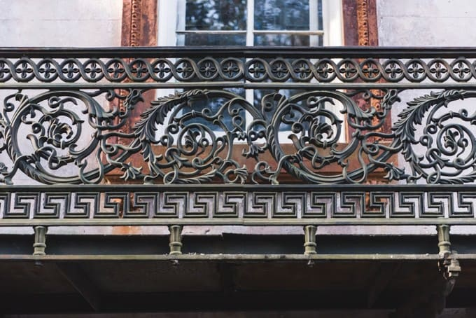 An image of decorative wrought iron on a house in Savannah, Georgia.