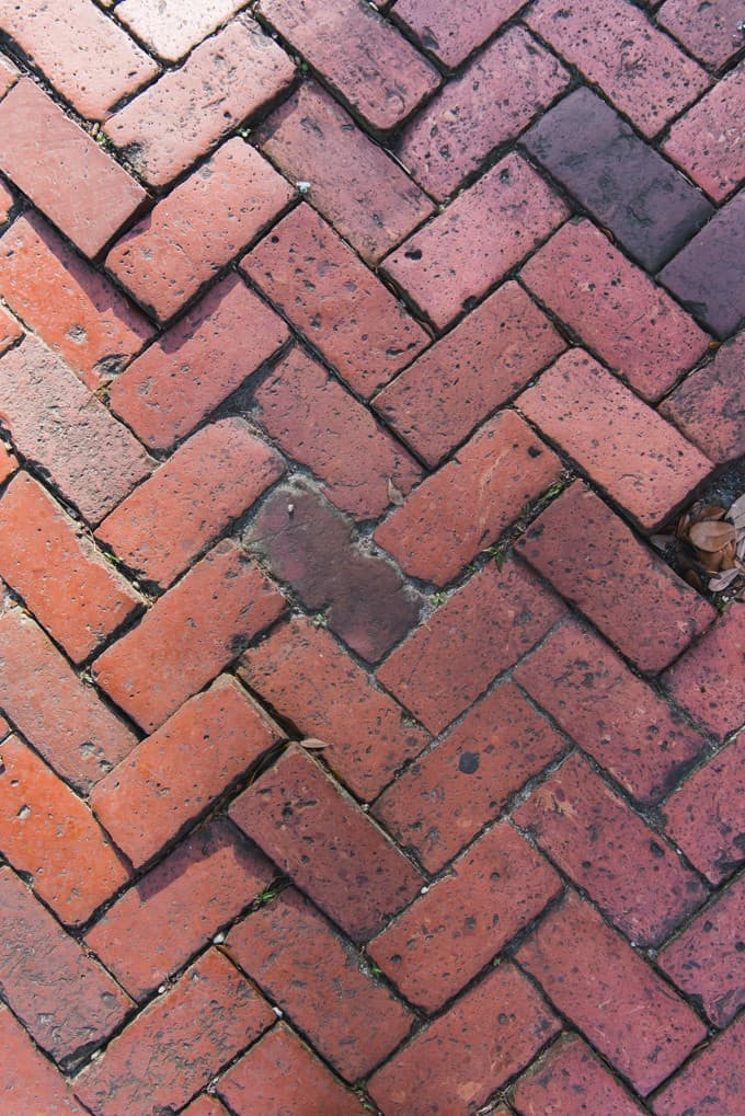 An image of a brick herringbone pattern on a sidewalk in Savannah, Georgia.