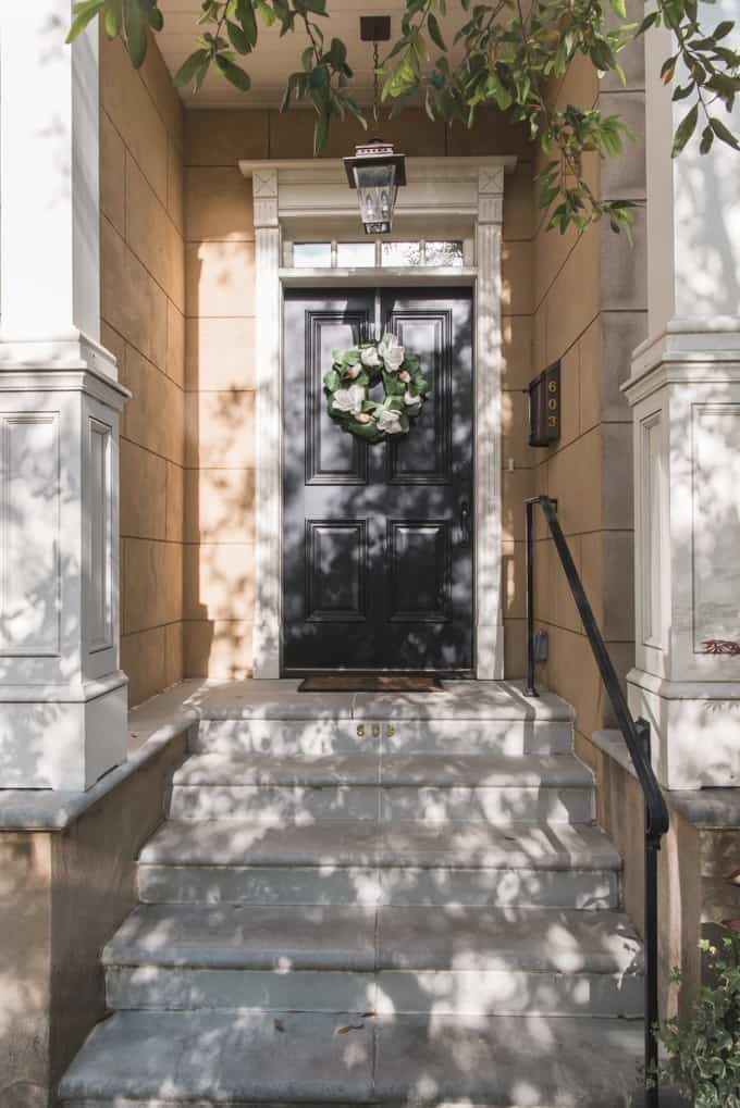 An image of a doorstep in Savannah, Georgia's historic district.