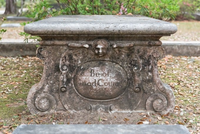 An image of a gothic headstone in Bonaventure Cemetery.