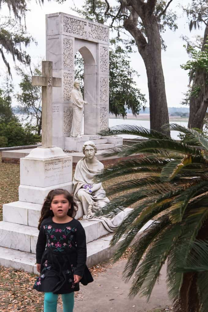 An image of a child walking in Bonaventure Cemetery.