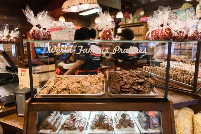 An image of pecan pralines and chocolate pecan pralines at River Street Sweets in Savannah, Georgia.
