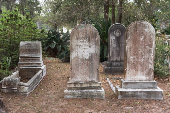 An image of old tombstones in Bonaventure Cemetery.