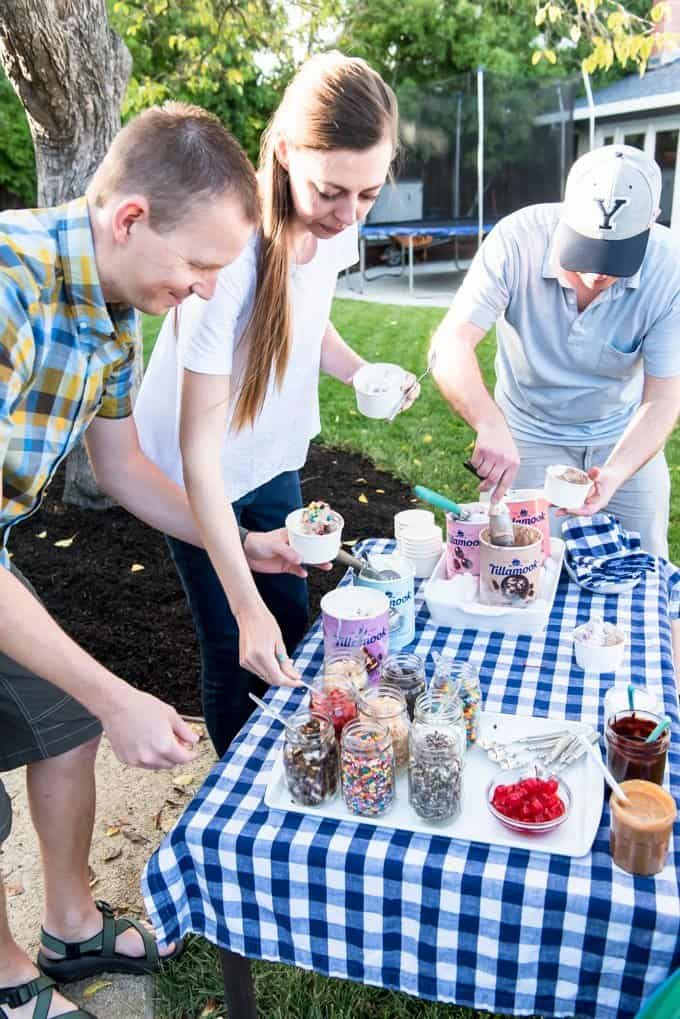 An image of people at an ice cream sundae party.