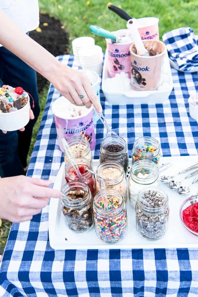 An image of an ice cream sundae bar toppings.