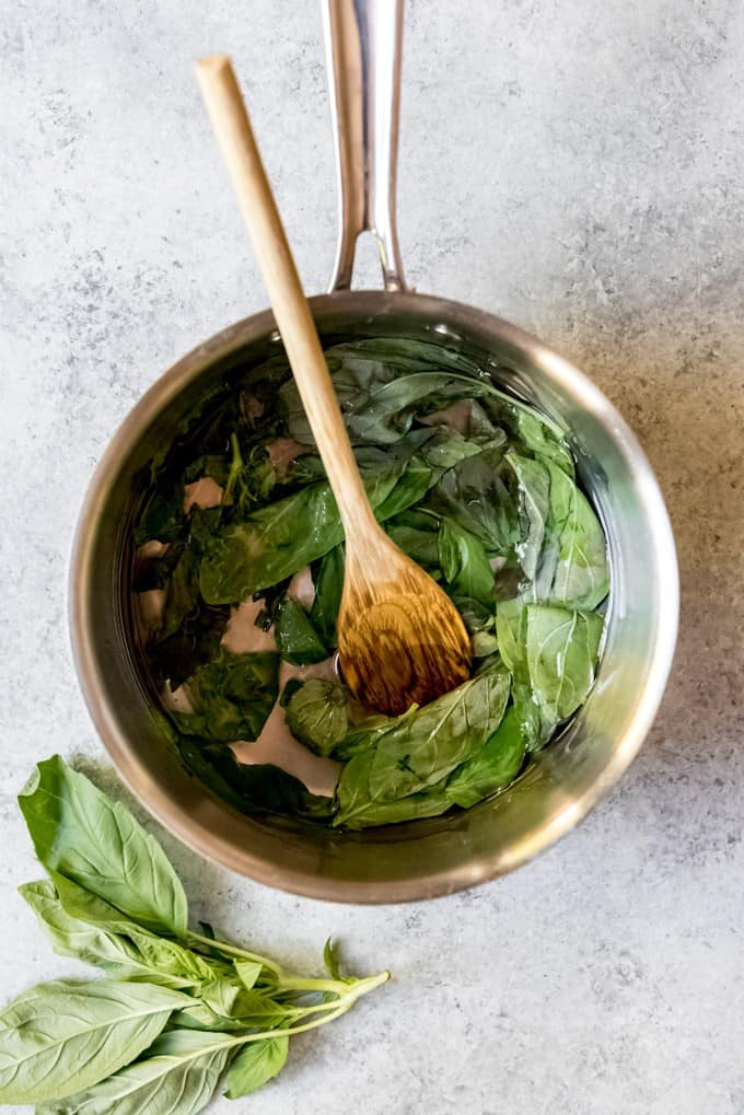 An image of basil simple syrup.