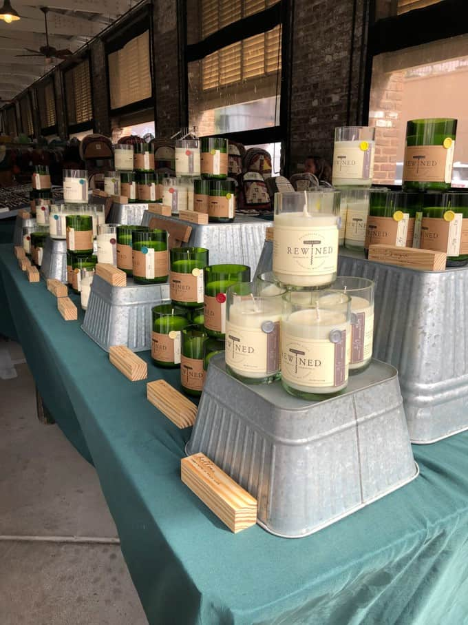 An image of candles for sale at the Charleston City Market.