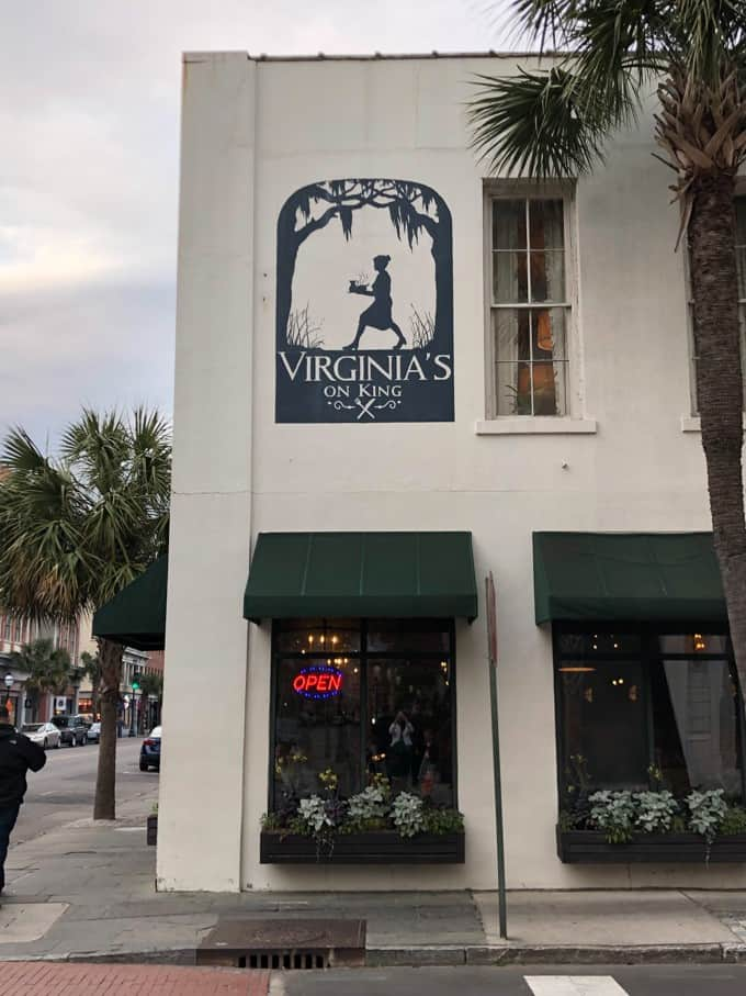 An image of the Virginia's On King sign in Charleston, South Carolina.