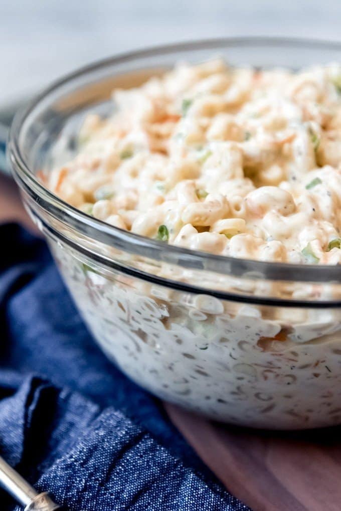 An image of a large bowl of Hawaiian macaroni salad.