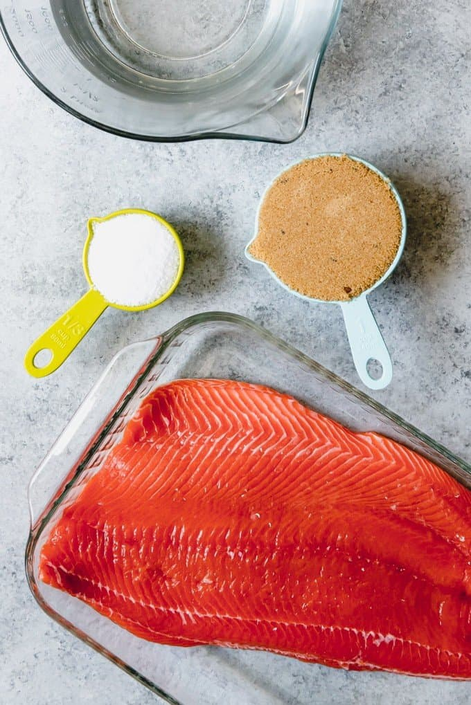 An image of the ingredients for brining salmon before smoking it on a pellet grill.