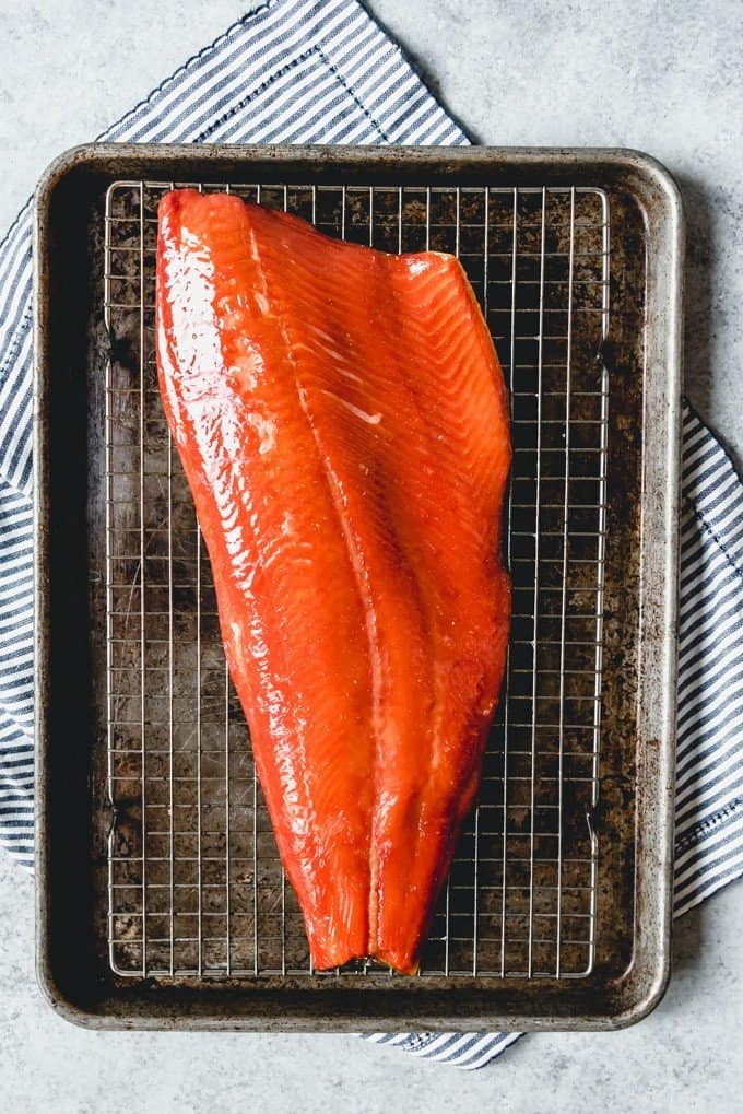 An image of a large piece of wild caught salmon that has been brined, cured, and smoked on a pellet smoker.