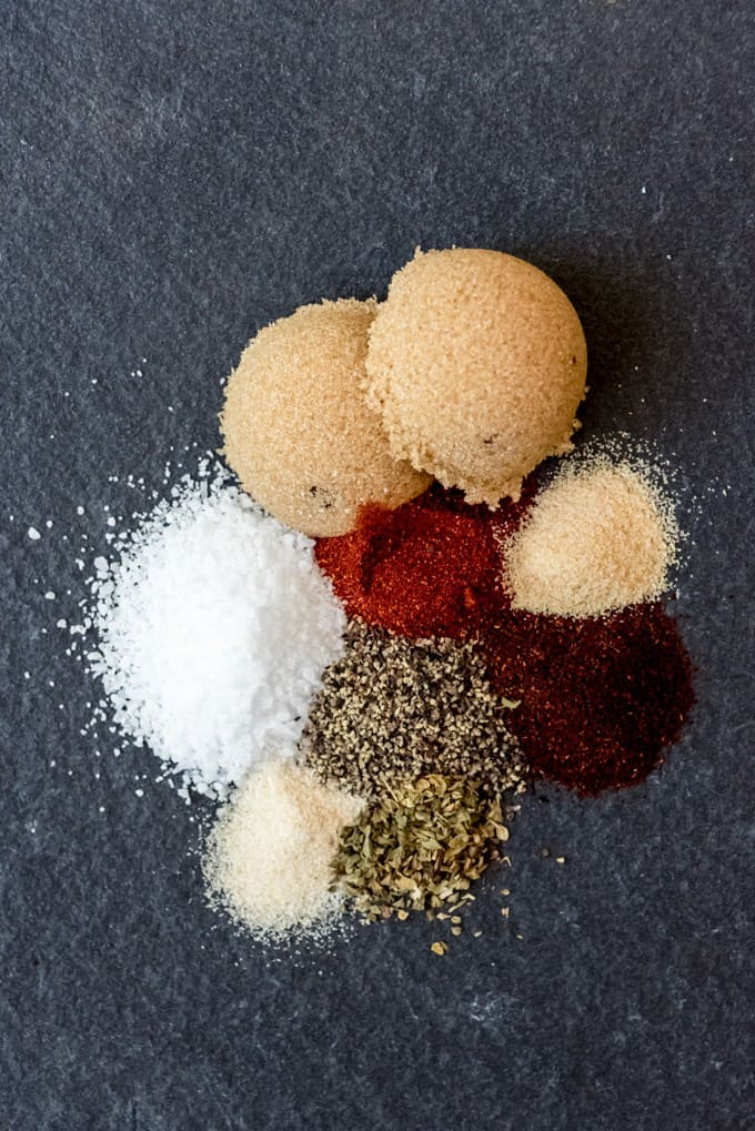 An image of the ingredients in a sweet bbq pork rub.
