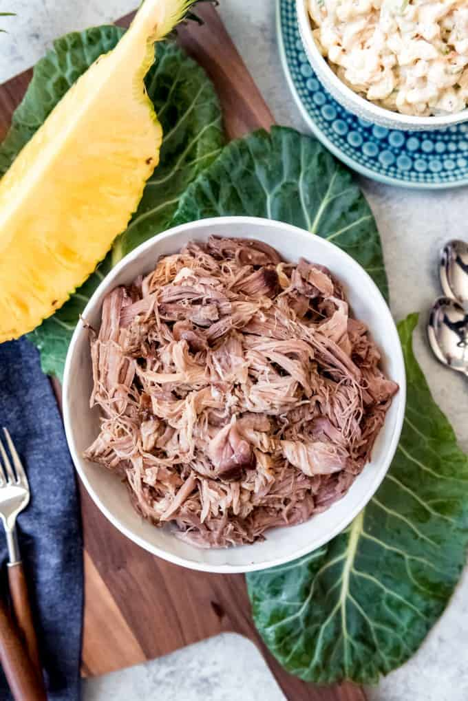 An image of a bowl of shredded luau pork or kalua pig.