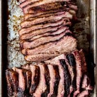 An image of a sliced Texas smoked brisket.