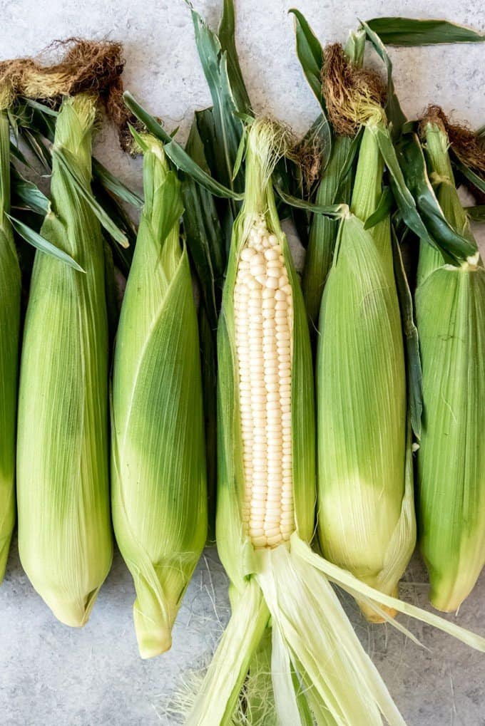 An image of ears of sweet white corn.