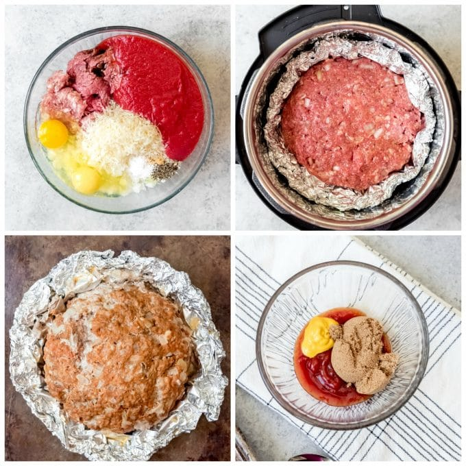 A collage of pictures showing step-by-step how to make Instant Pot Meatloaf with sweet ketchup glaze.