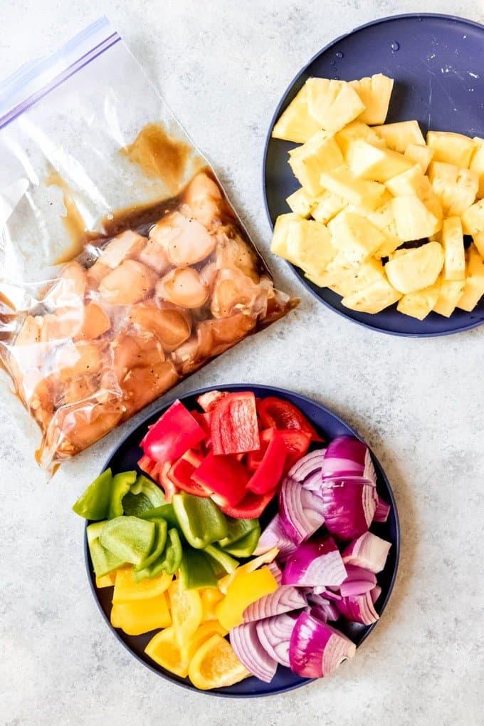 An image of the ingredients needed to make Hawaiian Teriyaki Chicken Skewers.