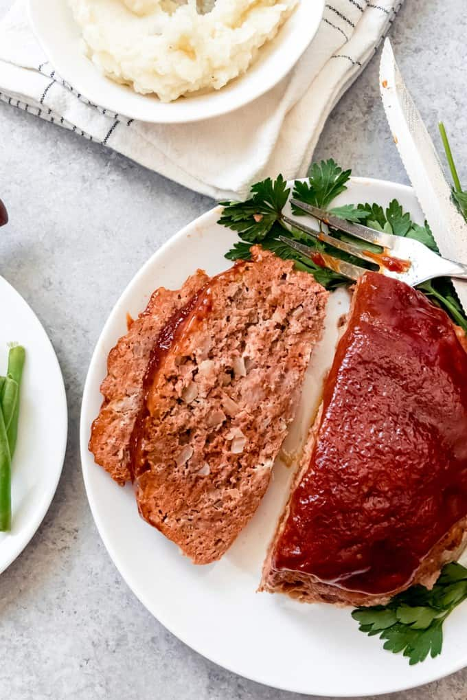 An image of a tender, juicy meatloaf made in the Instant Pot.