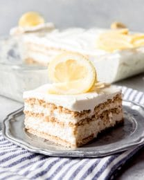 An image of a slice of lemon icebox cake.