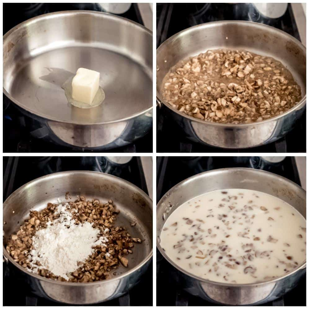 A collage showing step-by-step images of how to make cream of mushroom soup from scratch.