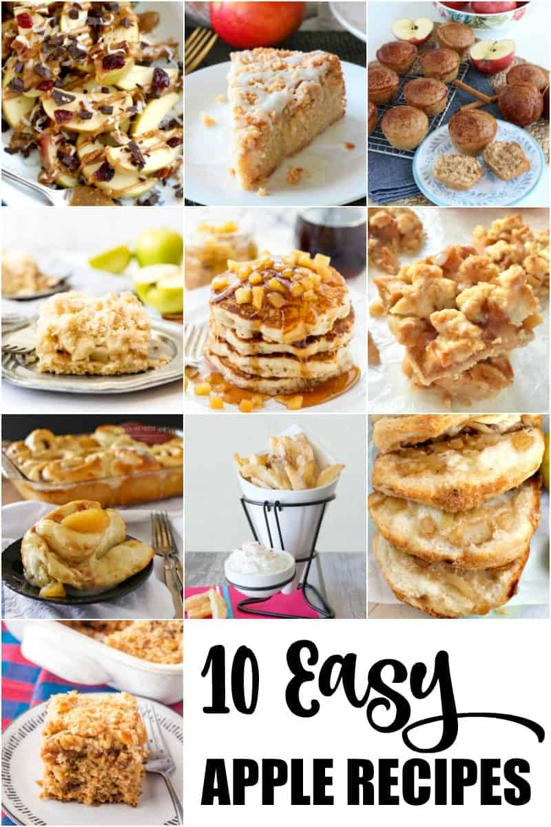 A collage of 10 easy apple recipes.