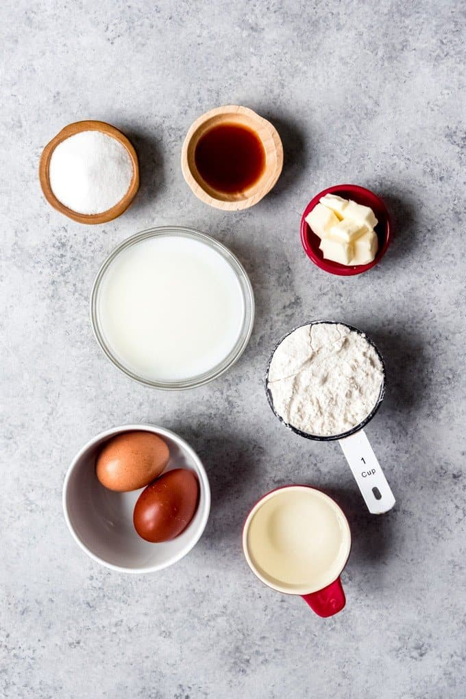 An image of the ingredients for making authentic homemade French crepes.