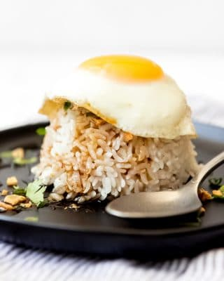 An image of sticky rice topped with soy glaze and a fried egg.