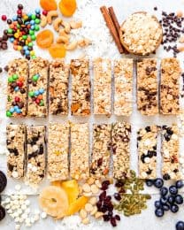An image of 8 different types of homemade granola bars.