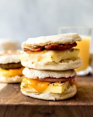 An image of two breakfast sandwiches stacked on top of each other.