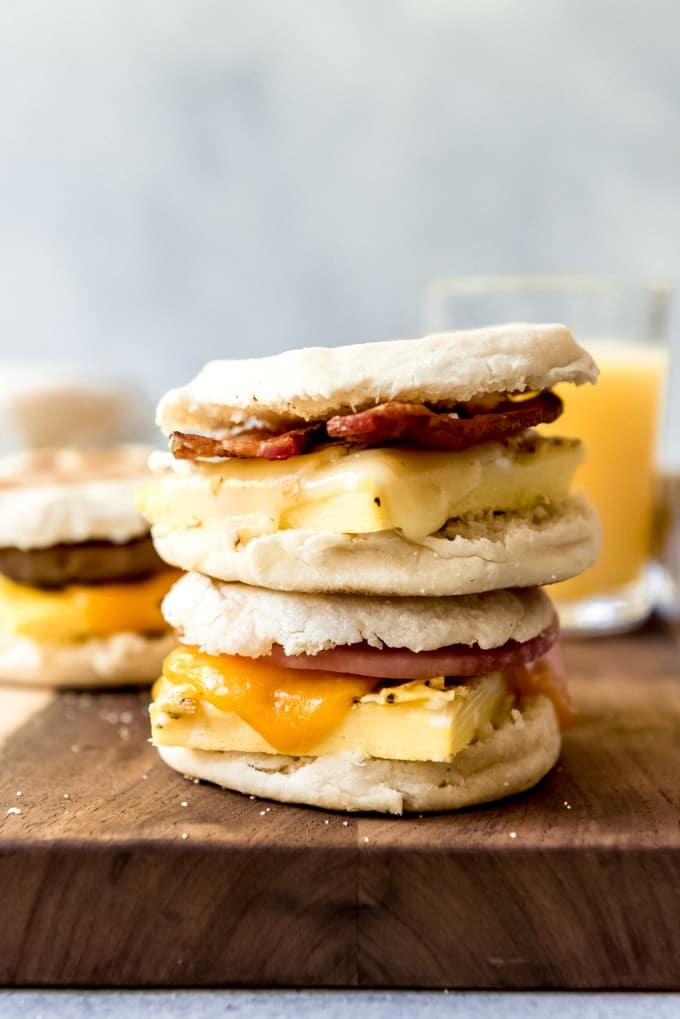 An image of two breakfast sandwiches stack on top of each other.
